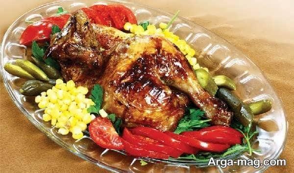 تزیینات مرغ با سبزیجات