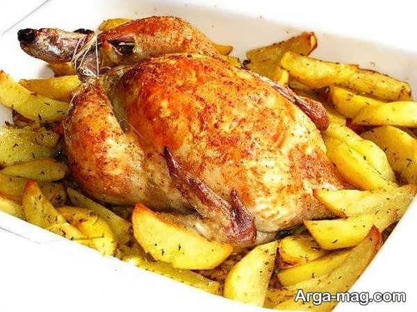 تزیینات مرغ با سیب زمینی