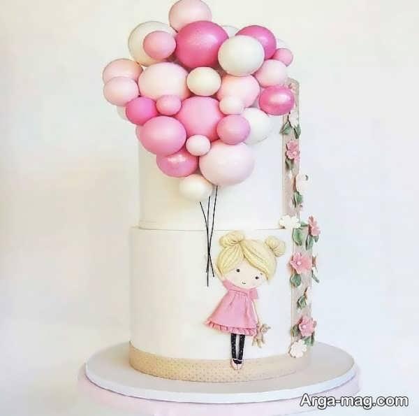 تزیینات دخترانه کیک تولد دو طبقه