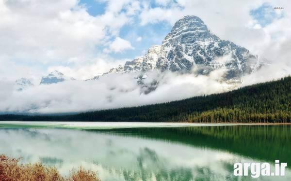 کوهستان مه آلود طبیعت