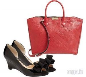 کیف قرمز کفش مشکی