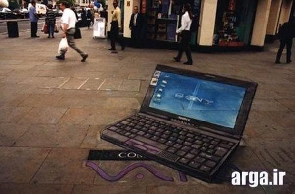 نقاشی سه بعدی لب تاب در خیابان