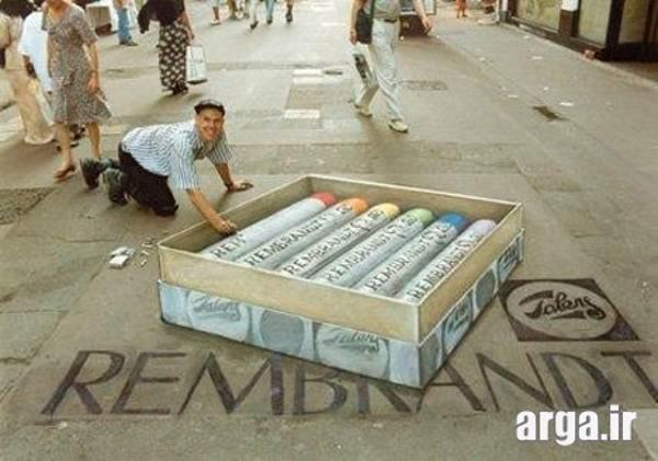 نقاشی سه بعدی ماژیک در خیابان