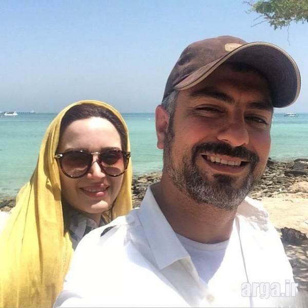 بهنوش طباطبایی با همسر در کنار ساحل