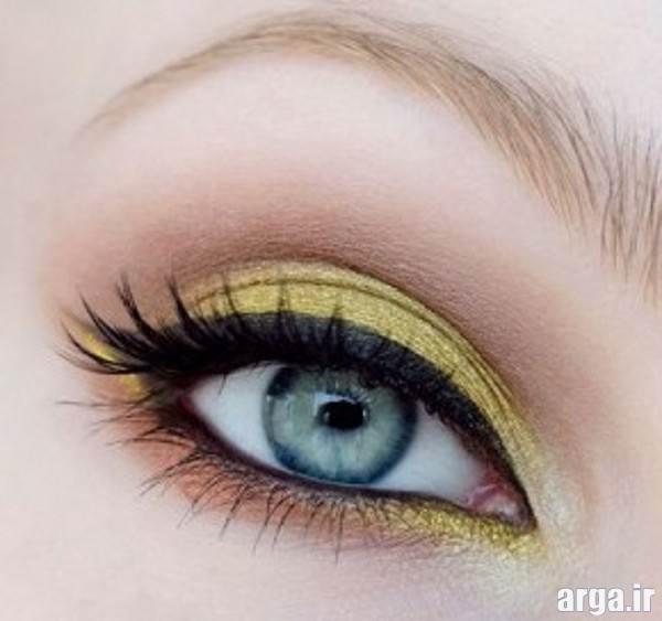 ارایش چشم شیک با سایه روشن به رنگ زرد