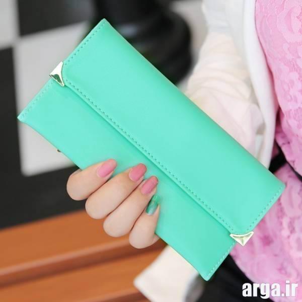 کیف پول سبز آبی
