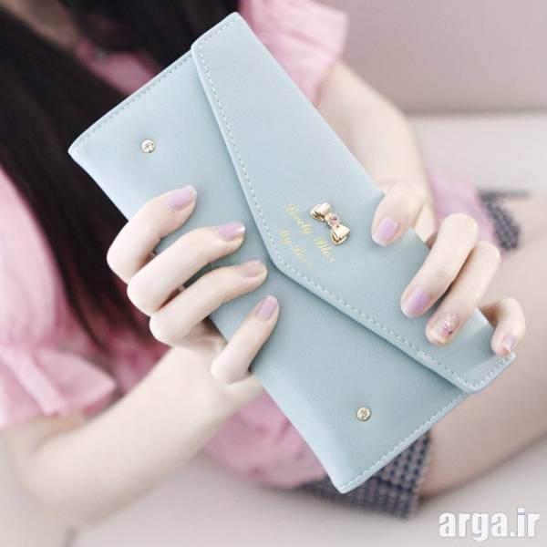 مدل کیف پول آبی کم رنگ