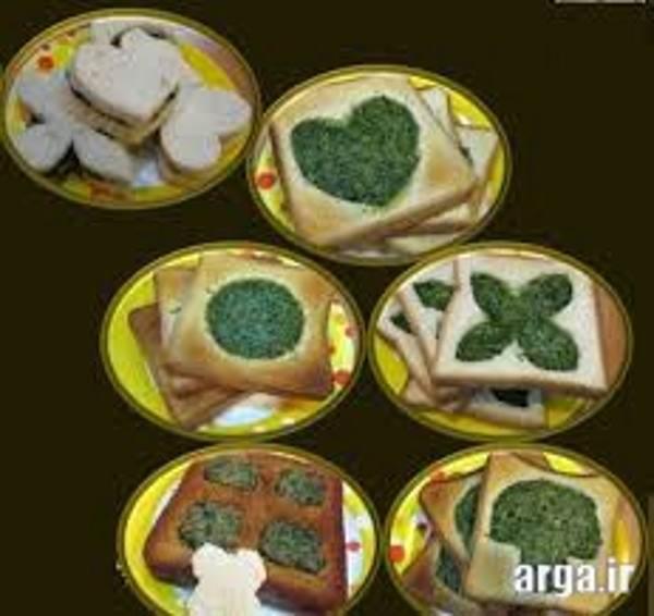 تزئین کوکو سبزی با نان تست