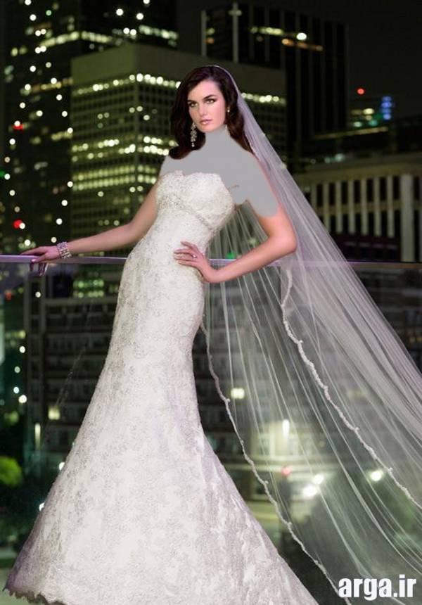 لباس عروس با تور بلند شیک