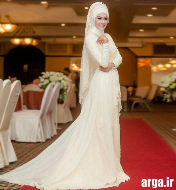 لباس عروس پوشیده دانتل دار