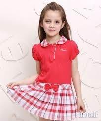 لباس دخترانه با دامن چهار خانه