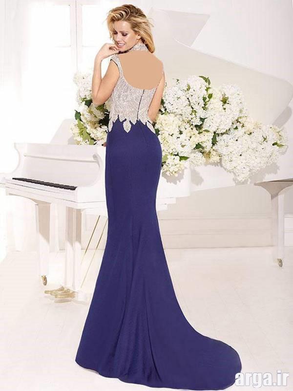 مدل لباس شب بادمجونی