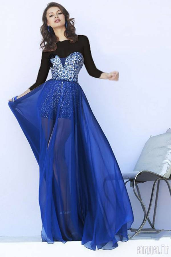 لباس شب آبی شیک