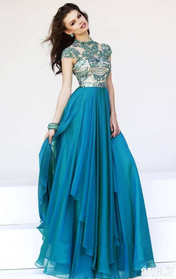 لباس شب آبی مدرن