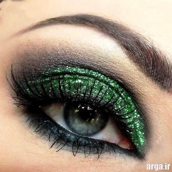 آرایش چشم عروس با سایه براق و سبز
