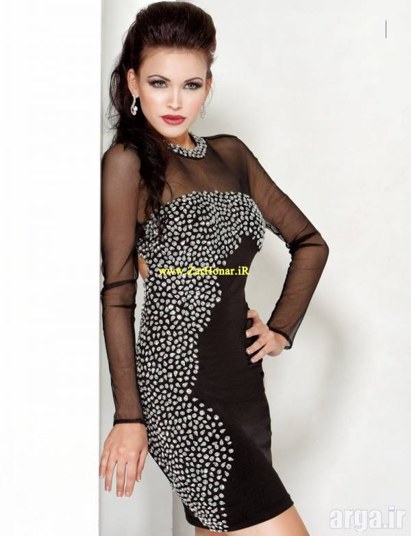 مدل لباس مجلسی مشکی حریر