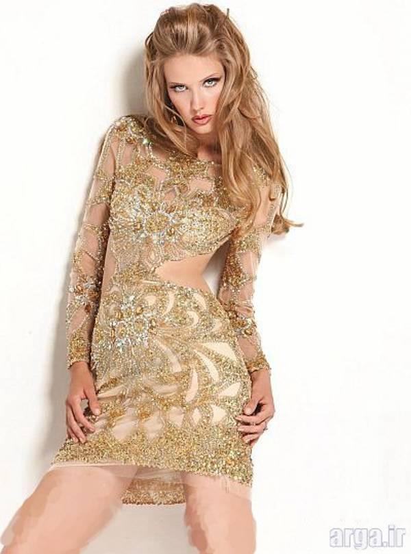 مدل لباس مجلسی کوتاه طلایی
