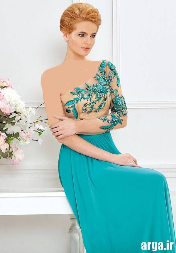 لباس مجلسی گیپور فیروزه ای