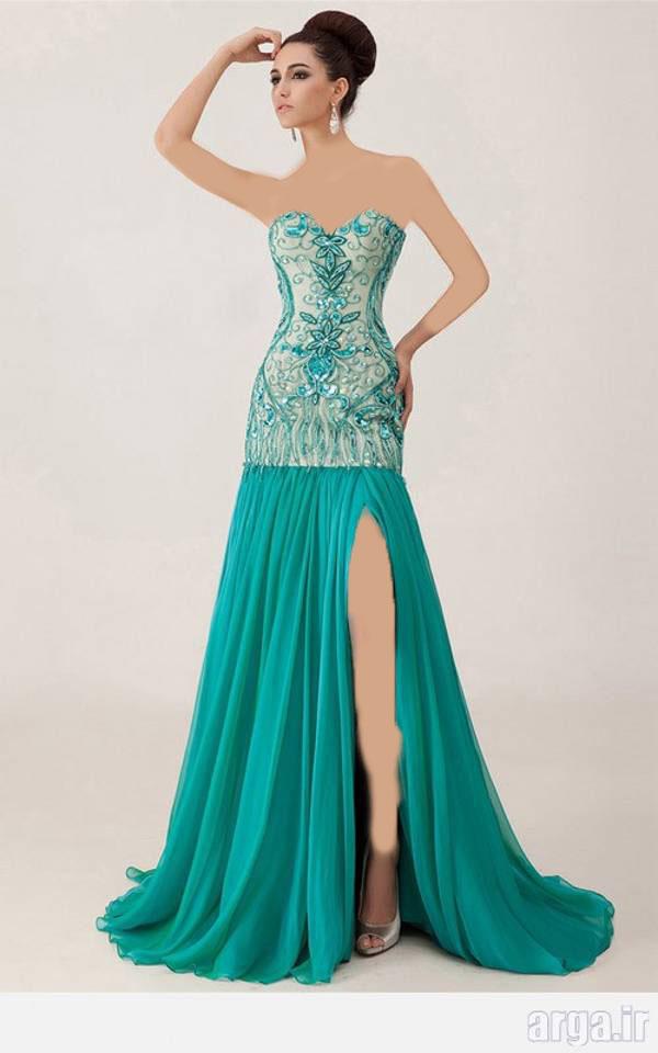 لباس مجلسی آبی فیروزه ای