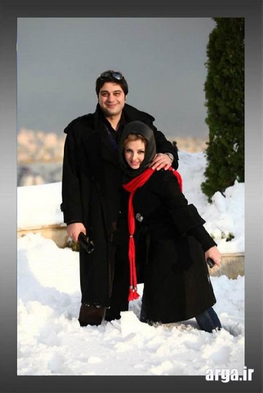 عکس نیوشا ضیغمی با همسر در برف