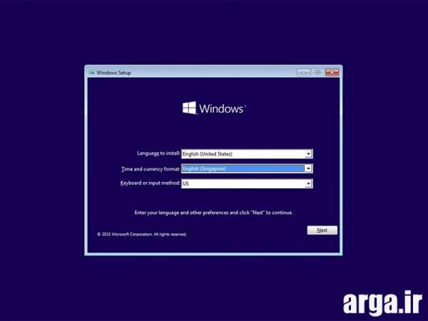 اولین مرحله نصب ویندوز 8