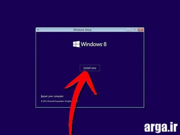 دومین مرحله نصب ویندوز 8