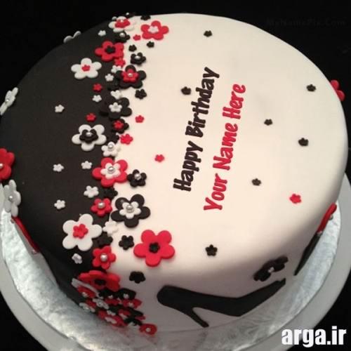 کیک تولد قرمز مشکی
