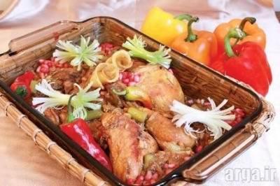 طرز تهیه خورشت مرغ و تزیین