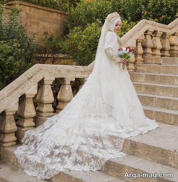 لباس عروس دنباله دار مدرن