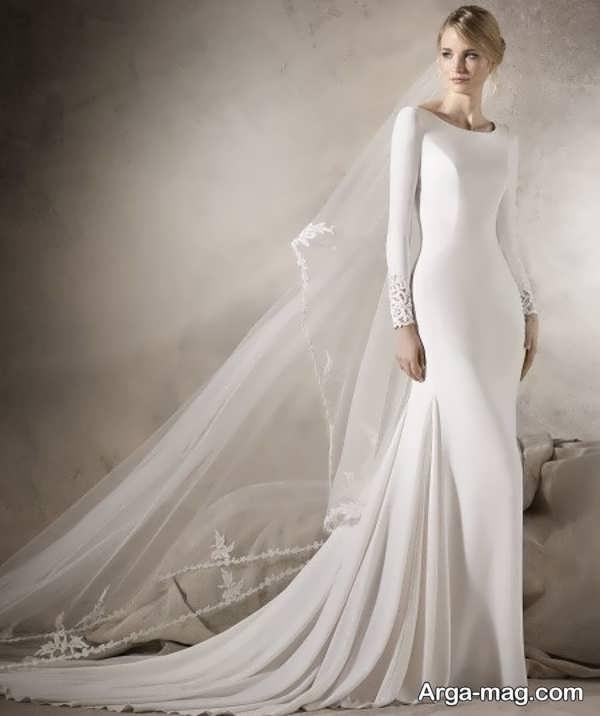 لباس عروس آستین دار با طرحی جدید