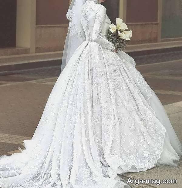 لباس عروس آستین دار شیک