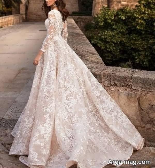 لباس عروس دنباله دار تماشایی