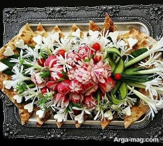 انواع دیزاین برای نان و پنیر و سبزی سفره عقد