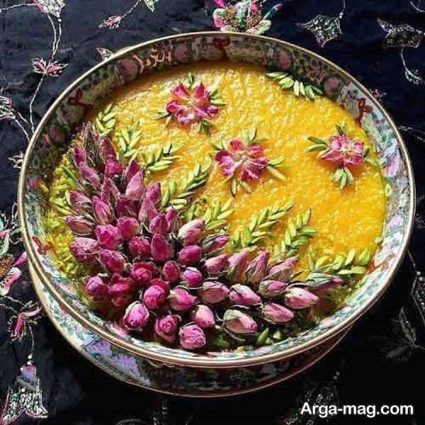 دیزاین جالب شله زرد با گل محمدی