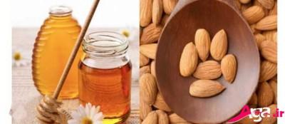 اسکراب عسل و پودر بادام