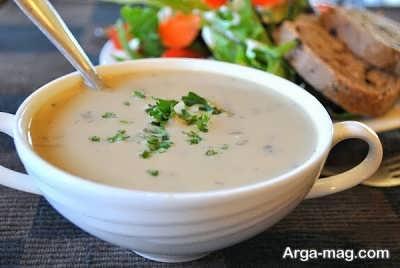 طبخ سوپی از شیر و قارچ