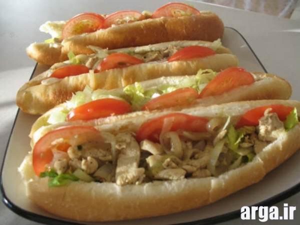 ساندویچ مرغ با سبزیجات