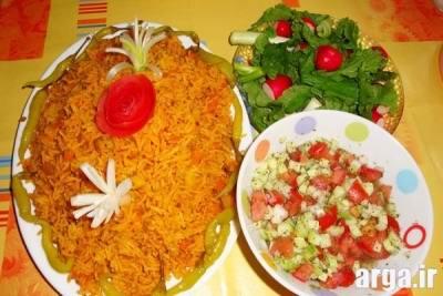 استانبولی پلو با سالاد شیرازی