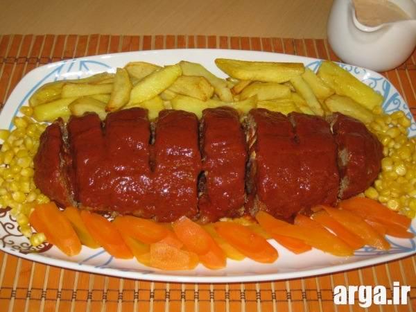 رولت گوشت با مخلوط گردو