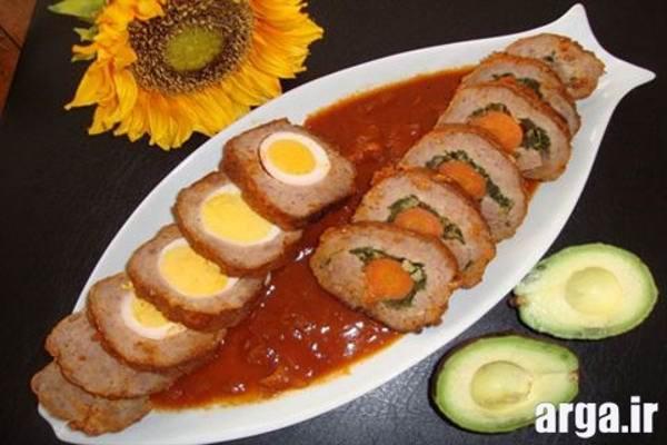 رولت گوشت با تخم مرغ