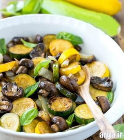 غذای رژیمی کدو سبز و قارچ
