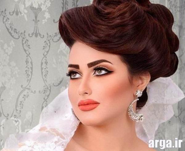 مدل های زیبای آرایش مو عروس به رنگ قهوه ای