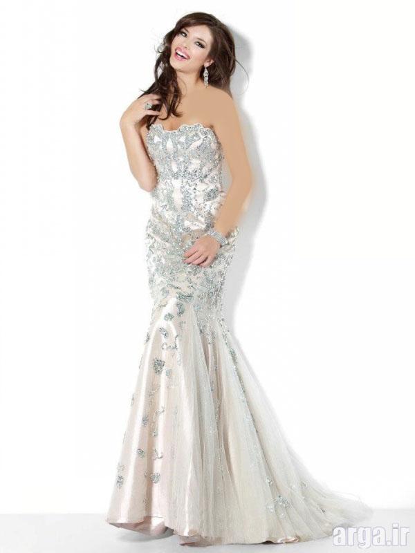 لباس مجلسی دانتل دار سفید
