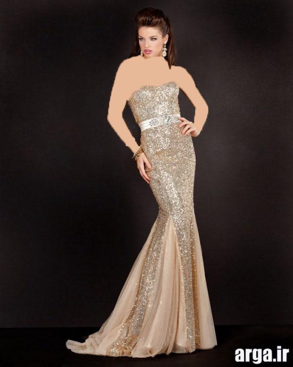 لباس مجلسی دانتل دار طلایی