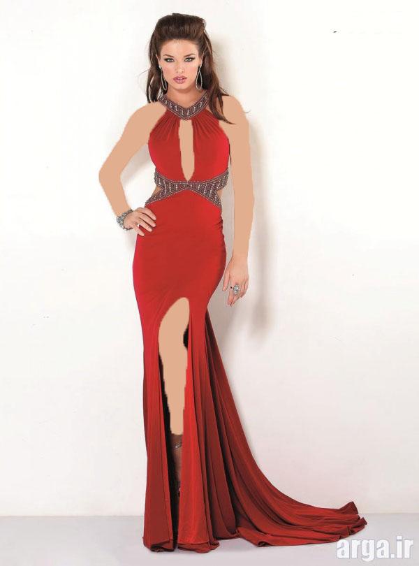 لباس مجلسی دانتل دار قرمز