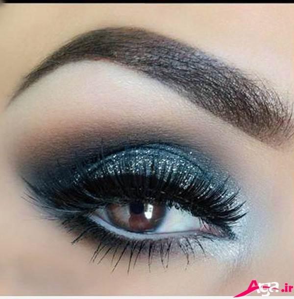 آرایش چشم عروس با سایه آبی