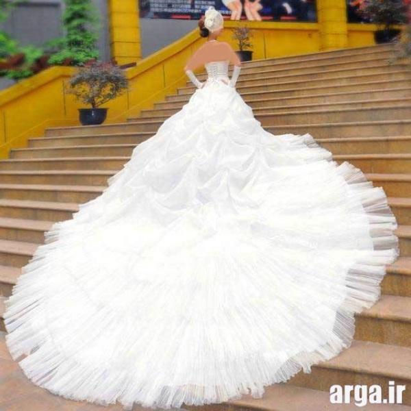 لباس عروس جذاب دنباله دار