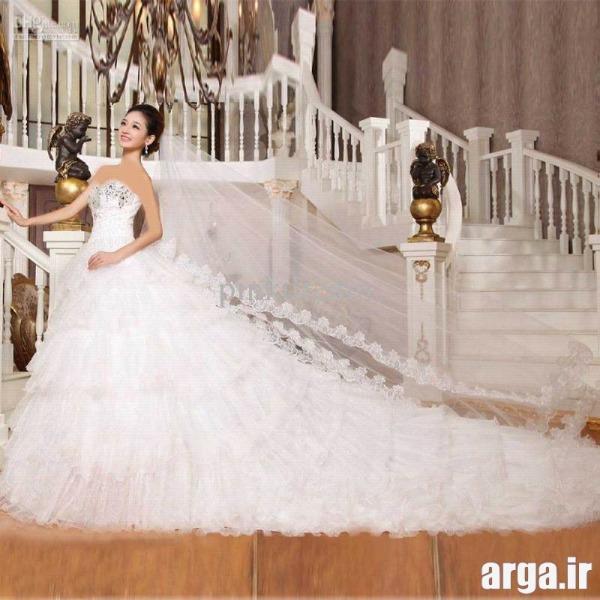 لباس عروس شیک دنباله دار