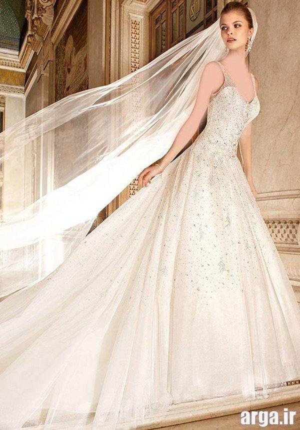 لباس عروس دنباله دار اروپایی