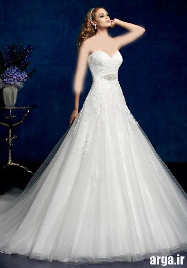 لباس عروس با دامن حریر اروپایی